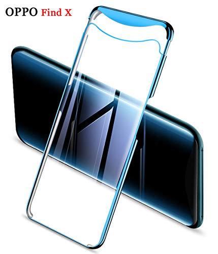 ZSCHAO Oppo Find X transparent 360 Grad Hülle Slim Ultra Dünn stossfest Stoßfest +Panzerglas Handyhülle Oppo Find X Hülle Hard Hülle hart Hybrid Matt Schutzhülle Cover für Oppo Find X (Blau Plating)