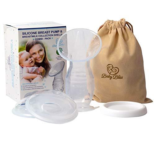 Borstkolf Siliconen van Baby Bliss®️ | 2020 COMBI Pakket met 2 wasbare Borst Lekschalen | Komt met Kolf deksel & luxe discrete draagtas | Borstvoeding hand kolf | Borstcompressen |BPA-vrij | No.1 in UK !!
