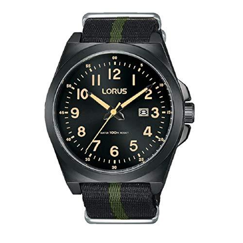 Lorus Reloj de hombre con esfera negra y correa de nailon a rayas negras y verdes RH939KX9