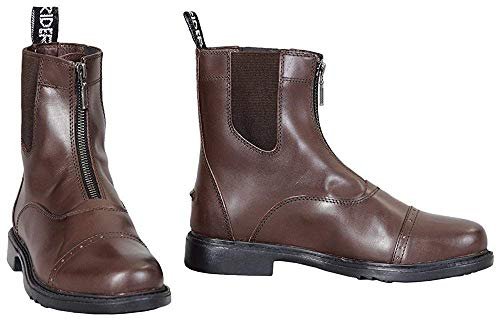 TuffRider Men's Barouque Front Zip Paddock Boots with Metal Zipper, Mocha, 11.5