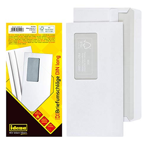 Idena 10220 - Sobres DIN largo, 75 g/m², autoadhesiva, con ventana, 25 piezas, mezcla FSC, blanco