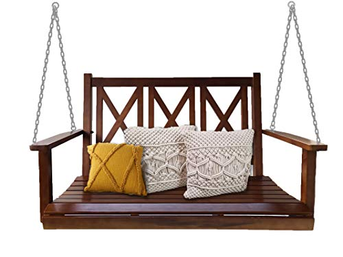 BACKYARD EXPRESSIONS PATIO · HOME · GARDEN 914894 4ft. Rustic Finished Fir Wood (2) Person Porch Swing | Capacity 450lbs, Mahogany