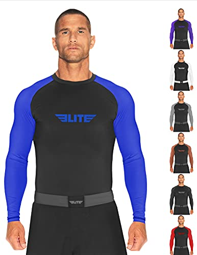 Elite Sports BJJ Jiu Jitsu Rash Guard, Men's BJJ, No GI, MMA Ranked Full Sleeve Compression Rash Guards (Blue, XXX-Large)