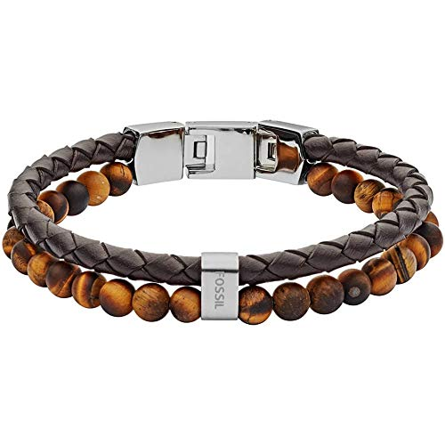 Fossil Herren Armband Tiger's Eye and Brown Leather Bracelet JF03118040