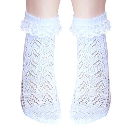 JHosiery Niña Pointelle Calcetines de algodón con Plano Punta Costura_Talla S_2 pares blanco con encaje