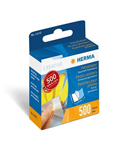 HERMA 1070 Fotokleber im Spender (12 x 17 mm) selbstklebend, doppelseitig, permanent haftende Foto-Aufkleber, 500 Stück, weiß