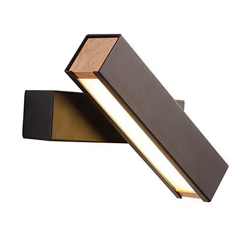 Lámpara de pared de pared de pared LED, lámpara de pared giratoria negra / blanco, lámpara de noche de acrílico dormitorio plantilla creativa pared luz de madera lámpara de lectura sala de estar sala