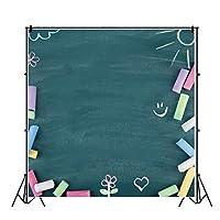 Qinunipoto 1.5x1.5m 写真背景背景布黒板チョーク学校シーズン卒業式誕生日パーティー装飾家族スタジオ写真小道具学生子供写真新生児キャラクター写真