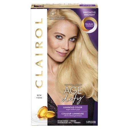 Clairol Age Defy Permanent Hair Color, 10 Extra Light Blonde, 3 Count