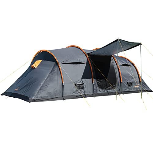 Skandika Trivelig Zelt für 8 Personen | Familienzelt mit 2 dunklen Schlafkabinen, eingenähter Zeltboden, große Schlafkabinen, wasserfest, 3000mm Wassersäule, Moskitonetz | Tunnelzelt, Campingzelt