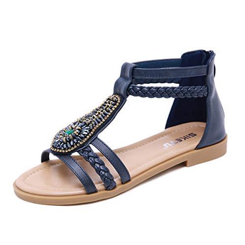 Gaatpot Sandalias Bohemias de Las Mujer Verano Punta Abierta Plano Sandalias Diamante De Imitación Zapatos Azul 39 EU = 40 CN