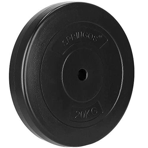 SPRINGOS Dischi di peso per bilanciere, foro 31 mm, in bitume, solidi, durevoli, indeformabili (nero 20 kg)