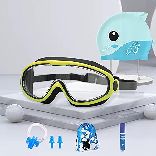 Gafas de natación de seis piezas para niños de gran marco pueden ser impermeables y antivaho HD en caja para niños y niñas. Traje de seis piezas transparente negro y amarillo