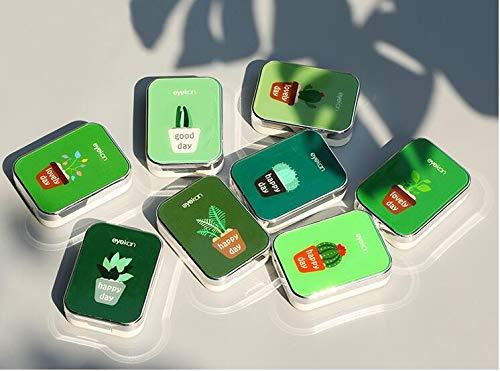 Mini tragbare Kontaktlinsen-Etui, Pflanzen-Muster, Reise-Set, Box (zufällige Farbe)