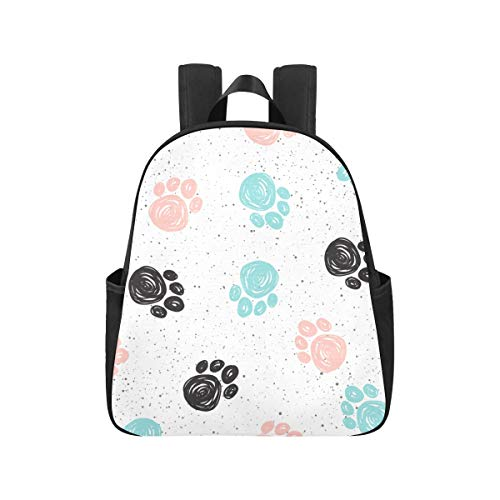 Colourful Doodle Dog Paw Animal Back Packs 12.40x5.12x14.17inch School Backpack Multipurpose Casual Commuter Backpack Business Travel School,Office