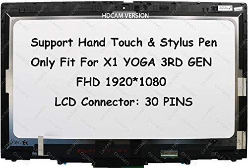 14' FHD 1920X1080 LCD Touch Screen Digitizer Replacement Assembly with Bezel and Board For Lenovo ThinkPad X1 Yoga 2018 3RD GEN 01AY920 01AY920 01YT244 01AY975 01YT242 01AY923 01AY922 01YT243 (HDCAM)