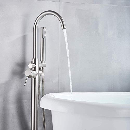 Votamuta Single Handle Brushed Nickel Floor Mounted Bathroom Tub Filler Shower Faucet Free Standing Stainless Steel Bathtub Faucet with Hand Shower Wand