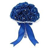 FRECI Artificial Flowers Bouquet Fake Flowers Bridal Wedding Bouquet for Home Garden Party Wedding Decoration - Royal Blue