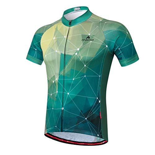 Uriah Men's Cycling Jersey Short Sleeve Reflective Green Stars Size XXL(CN)