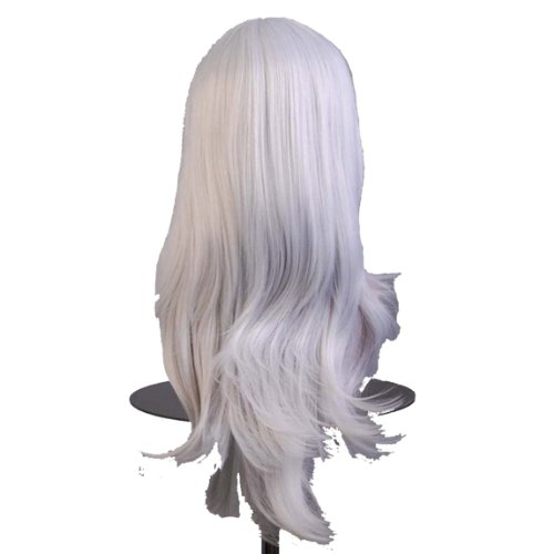 Dayiss®Perruque pleine d'argent avec les franges obliques perruques curly perruque cosplay costume de carnaval