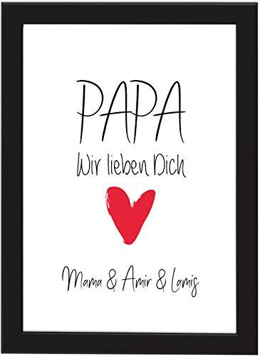 PICSonPAPER Personalisierbares Poster DIN A4 Papa, wir lieben Dich, gerahmt mit schwarzem Bilderrahmen, Vatertagsgeschenk, Vatertag, Poster mit Rahmen, Weihnachten, Personalisierbare Poster
