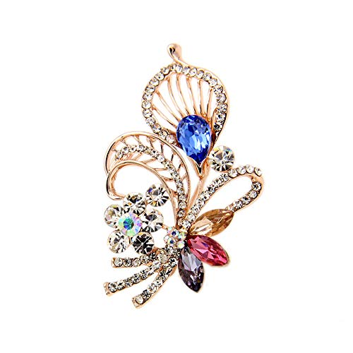Accesorios de broche de diamantes para vestido de banquete europeo y americano, broche de flores huecas que preservan el color, broche de cristal (A)