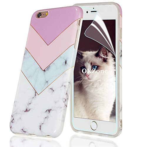 OKZone Cover Compatibile con iPhone 6 Plus   6S Plus (5,5 Pollici), Custodia Marmo Design Protettiva Guscio Soft Case Bumper Sottile Slim Fit TPU Gel Morbida Cover per iPhone 6   6S Plus (Rosa Chiaro)