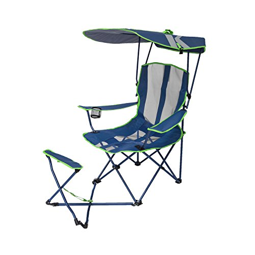 SwimWays Kelsyus Original Canopy Chair with Ottoman - Foldable Chair for Camping, Tailgates, and Outdoor Events - Blue/Grey