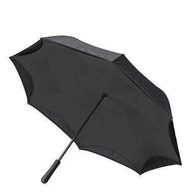 BETTER BRELLA Wind-Proof, Reverse Open, Upside Down 41.5  wide Umbrella (Black)