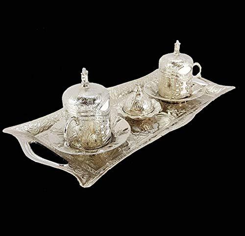 Ottomano Stile 2 X Turco Argento Ottone Tè Tazze Di Caffè + Vassoio + Zucchero Pentola