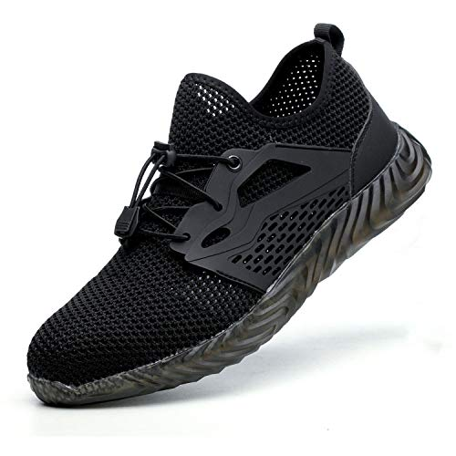 SUADEX Indestructible Steel Toe Shoes Men Women, Work Safety Shoes Working Shoes Industrial Construction Sneakers 825 Black Size 10.5 Women/9 Men