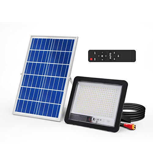 300W LED Solar Flood Light Outdoor LED Solar Street Security Light IP66 Waterproof Auto Dusk to Dawn with Remote 1800LM 6500K Cool White Wall Light for Road Yard Garden Pathway Pool Lawn Flag Pole
