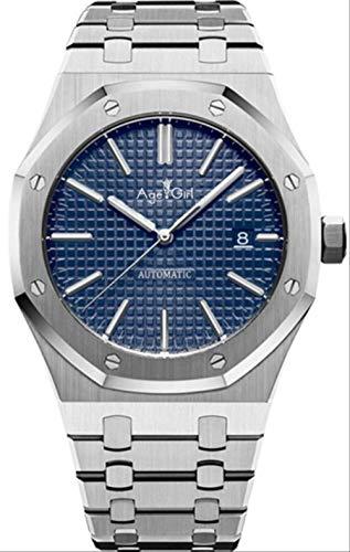 DMZZYGJR Orologio Sportivo da Uomo Nuovo di Zecca Acciaio Inossidabile Meccanico Automatico Argento Grigio Limitato Royal Sapphire Glass Oaks Blue