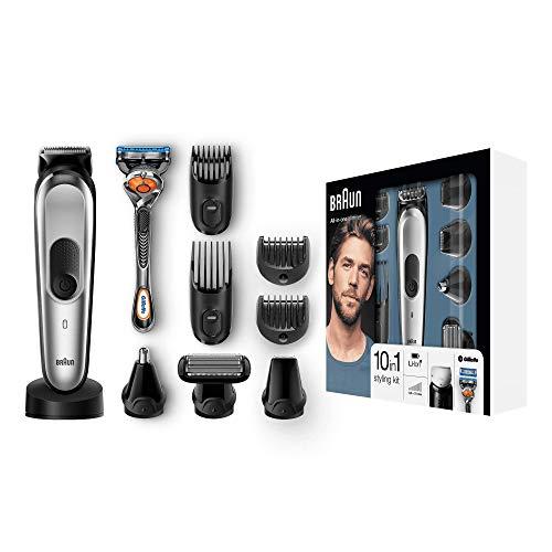 Braun 10-in-1 Multi-Grooming-Kit MGK7020 – Bartpflege Set für Herren mit Bart- und Körperhaartrimmern, Haarschneider, schwarz/silber