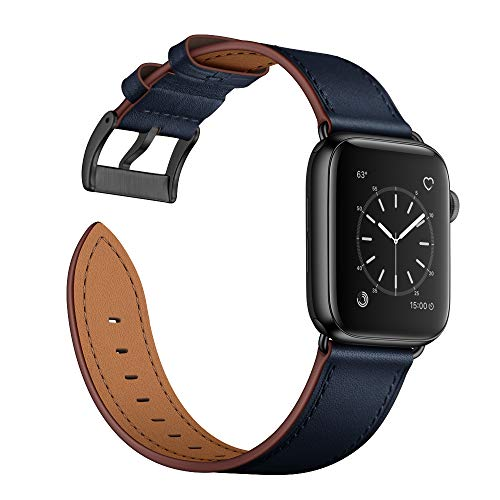 Arktis - Cinturino in Vera Pelle Compatibile con Apple Watch 38/40mm (Series 1, Series 2, Series 3, Series 4, Series 5) Bracciale con Fibbia e adattatori di Acciaio Inossidabile - Blu Acciaio