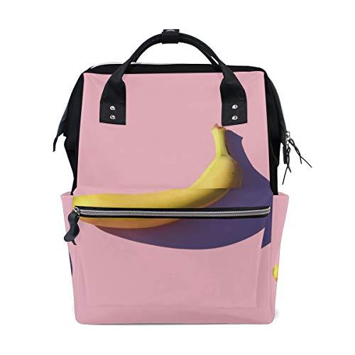 Alinlo Fond Rose Banana Sac à langer Diaper Sac à dos avec sangles de poussette multifonction Grande capacité momie Sac fourre-tout Sacs pour voyage Baby Care