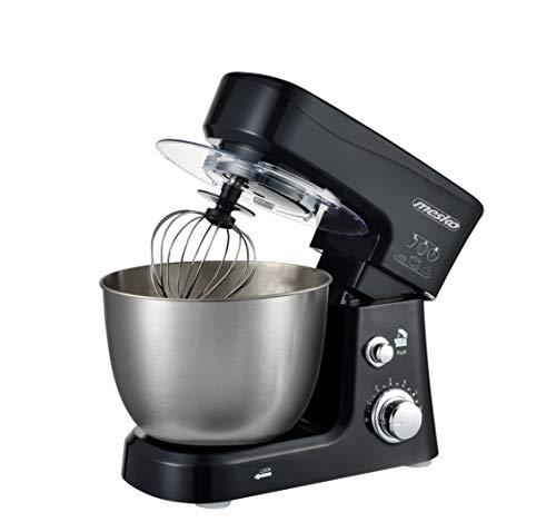 MESKO MS 4217 Küchenmaschine, Knetmaschine mit 3,5L Schüssel aus Edelstahl, 6 Geschwindigkeiten, Knethaken, Rührbesen, Schlagbesen, 1200 W, Spritzschutz, Rührmaschine, Teigmaschine