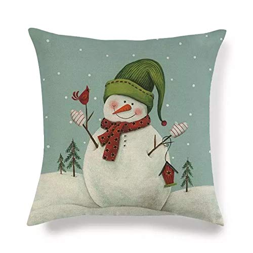 Funda Cojine 45 cm * 45 cm diseño navideño Feliz muñeco de Nieve de Lino algodón Fundas de Almohada sofá Funda de cojín Fundas de Almohada Decorativas para el hogar Cubierta cojín sofá Decor casera