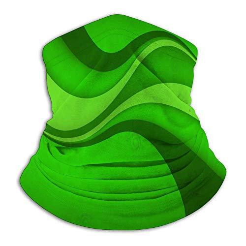 ENZOOIHUI Fleece Neck Windproof Neck Gaiter Gesichtsschutz Abstract Green Wave Clip Art Windproof Cover