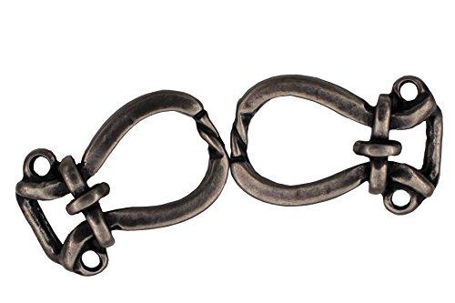 Hartmann-Knöpfe 1 Paar Coole und Moderne Miederhaken für Dirndl Mieder, Silber geschwärzt, Metall, zum Annähen, Größe ca. 26mmx17mm, Made in Germany (2 Teile)