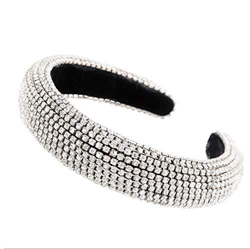 Hlnaughty haarband met strass-steentjes, gevoerd, glanzend, voor dames, 3 cm breed