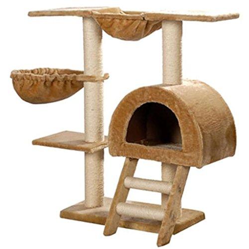 vidaXL Árvore para gatos em pelúcia bege com 105 cm