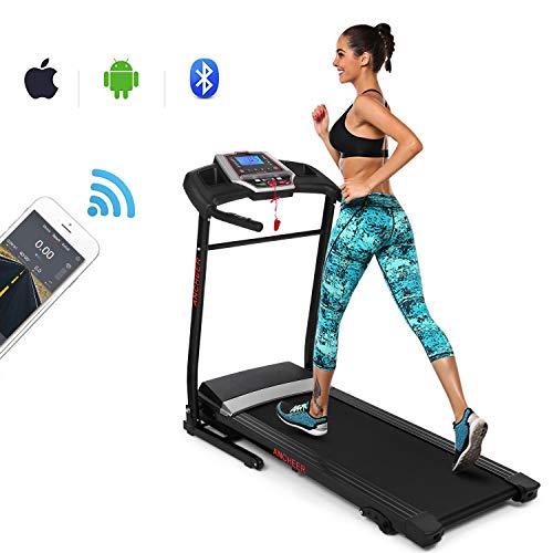 ANCHEER Treadmill, Folding Electric Treadmills, Motorized Running Treadmills with Rolling Wheels (Dark_red)