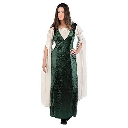 Elbenwald Mittelalter Damen Kostüm 2tlg Samtkleid Bluse grün weiß - M