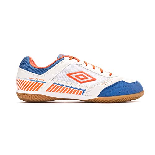Umbro Sala II Pro Fußballschuh Sala, White-Tangerine Tango-Regal Blue, Größe 12 US (46 EU)