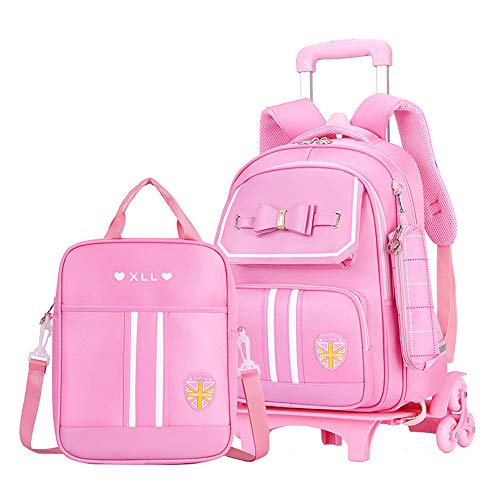 Fanci 2Pcs Bowknot Princess Style Trolley School Book Bag for Girls Boys Wheeled Backpack with 6 Wheels