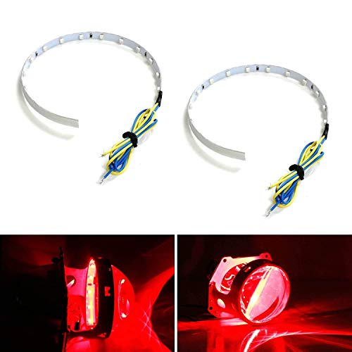 iJDMTOY Brilliant Red 15-SMD High Power LED Demon Eye Halo Ring Kit Compatible With Car Motorcycle Headlight Projectors or Aftermarket 2.5 2.8 3.0 Inch Retrofit Projector Lens