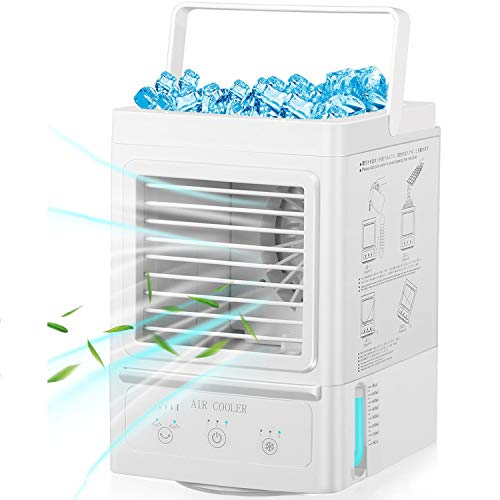 Portable Air Conditioner,60°/120° Auto Oscillation Personal Air Cooler,5000mAh Usb Rechargeable Battery Operated Mini Cooling Fan with 3 Wind Speeds & 3 Misting Levels,Humidifier (B)
