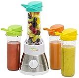 Bestron Blender à smoothie familial avec 4 bols mélangeurs/gobelets, 4x 400 ml, 400 W, Acier inoxydable, Blanc