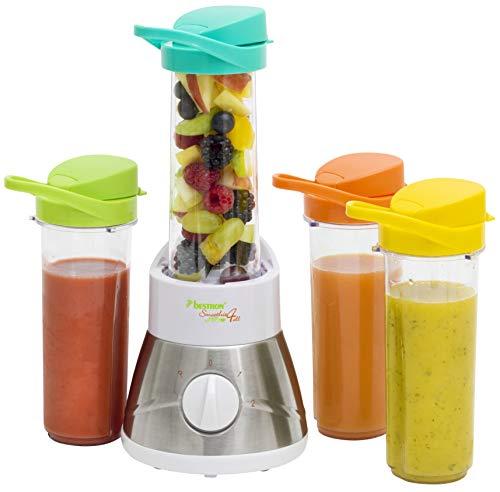 Bestron Familien-Smoothie Maker mit 4 Mix-/Trinkbechern, 4x 400 ml, 400 Watt, Edelstahl, Weiß